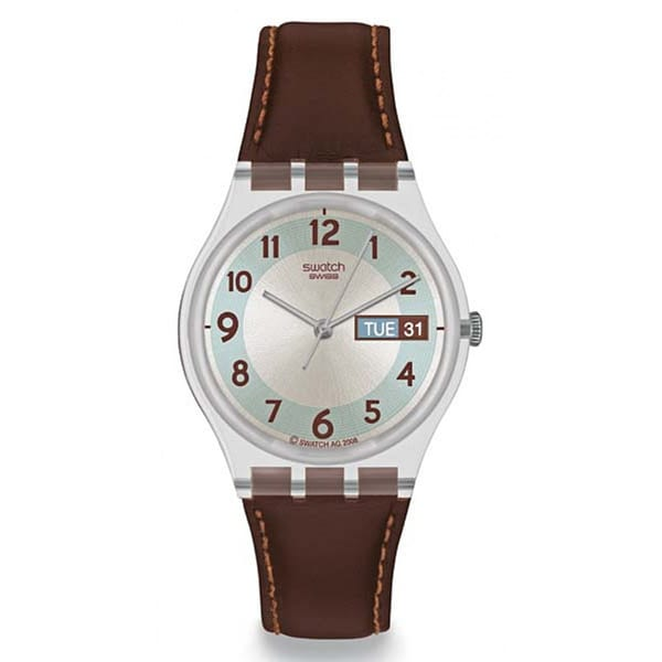 Swatch Men's Originals GE704 Brown Leather Quartz Watch with White Dial