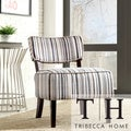 Elko Striped Print Armless Curved Back Accent Chair
