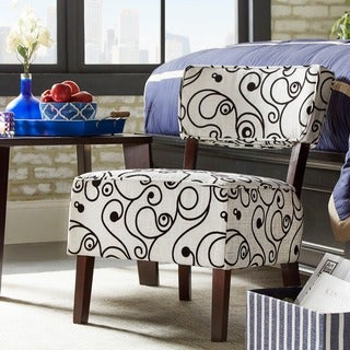 Tribecca Home Elko Striped Print Armless Curved Back Accent Chair