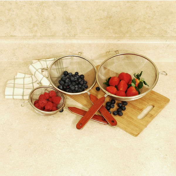 Set of 3 Stainless Strainers with Wood Handles