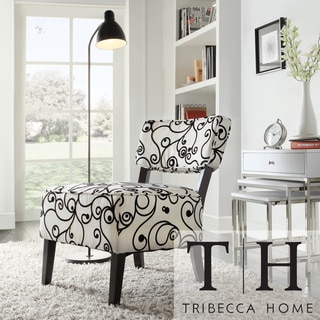 Elko Swirl Print Armless Curved Back Accent Chair