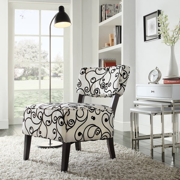 TRIBECCA HOME Elko Swirl Print Armless Curved Back Accent Chair