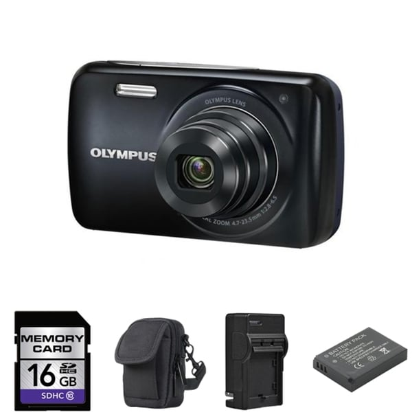 Olympus VH-210 Black Digital Camera 16GB Bundle