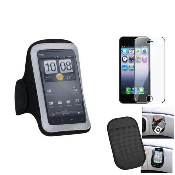 INSTEN Clear Screen Protector/ Anti-slip Mat/ Armband for Apple iPhone 5/ 5S/ 5C