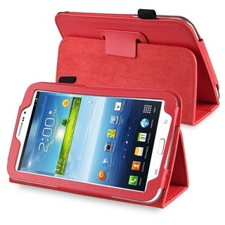 INSTEN Red Leather Tablet Case Cover with Stand for Samsung Galaxy Tab 3 7.0