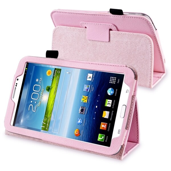 INSTEN Pink Leather Tablet Case Cover with Stand for Samsung Galaxy Tab 3 7.0