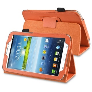BasAcc Orange Leather Case with Stand for Samsung� Galaxy Tab 3 7.0
