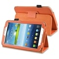 BasAcc Orange Leather Case with Stand for Samsung Galaxy Tab 3 7.0