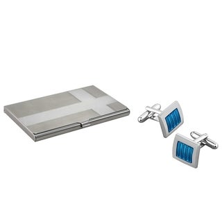 BasAcc Blue Silver Cufflink/ Card Holder