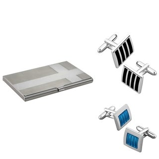 BasAcc Black Silver Cufflink/Blue Silver Cufflink/ Card Holder