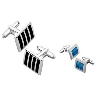 Zodaca 2-piece Black Silver Cufflink/ Blue Silver Cufflink