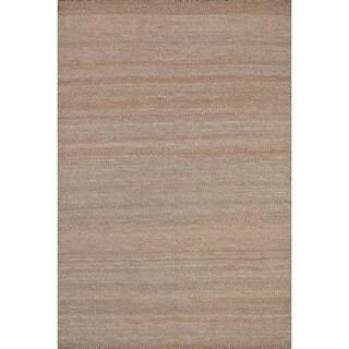 Hand-woven Poplin Rust Wool/ Cotton Rug (7'10 x 11)