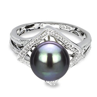 DaVonna 14k White Gold Black Round Pearl Illusion Ring (9-10 mm)