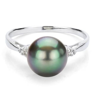 DaVonna Sterling Silver 9-10 mm Tahitian Pearl and 1/10ct Diamond Ring