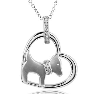ASPCA Tender Voices Sterling Silver Heart and Dog Diamond Necklace