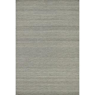 Hand-woven Poplin Smoke Wool/ Cotton Rug (5'0 x 7'6)