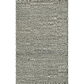 Hand-woven Poplin Smoke Wool/ Cotton Rug  (2'3 x 3'9)