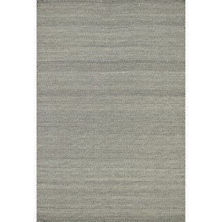 Hand-woven Poplin Smoke Wool/ Cotton Rug (9'3 x 13)