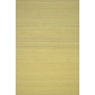 Hand-woven Poplin Citron Wool/ Cotton Rug (3'6 x 5'6)