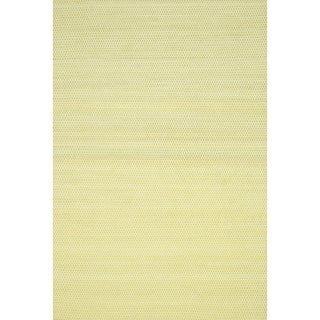 Hand-woven Poplin Citron Wool/ Cotton Rug (5'0 x 7'6)