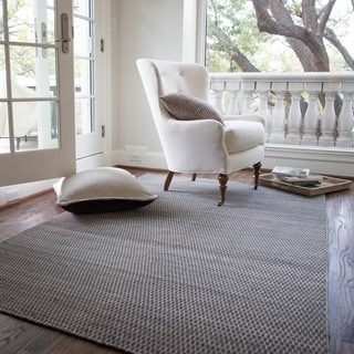 Hand-woven Poplin Charcoal Wool/ Cotton Rug (5'0 x 7'6)