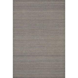 Hand-woven Poplin Plum Wool/ Cotton Rug (3'6 x 5'6)