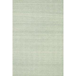 Hand-woven Poplin Aqua Wool/ Cotton Rug ( 5'0 x 7'6)