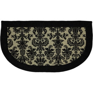 Scroll Black Memory Foam Kitchen Slice Rug (1'8 x 3')