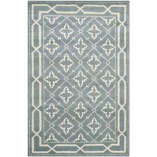 Safavieh Hand-knotted Mosaic Blue/ Beige Wool/ Viscose Rug (8' x 10')