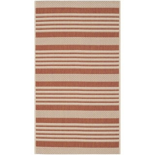 Small Safavieh Indoor/ Outdoor Courtyard Terracotta/ Beige Rug (2' x 3'7)