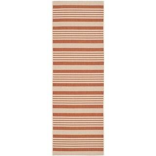Safavieh Indoor/ Outdoor Courtyard Terracotta/ Beige Runner Rug (2'3 x 6'7)