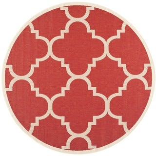 Safavieh Indoor/ Outdoor Courtyard Red Rug (7'10 Round)