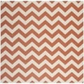 Safavieh Indoor/ Outdoor Courtyard Terracotta/ Beige Rug (7'10 Square)