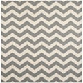 Safavieh Geometric Indoor/ Outdoor Courtyard Gray/ Beige Rug (7'10 Square)