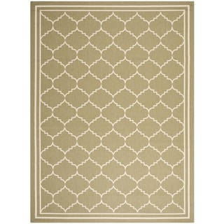 Safavieh Indoor/ Outdoor Courtyard Bordered Green/ Beige Rug (6'7'' x 9'6'')