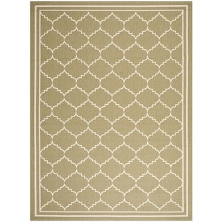 Machine-made Safavieh Indoor/ Outdoor Courtyard Green/ Beige Rug (9' x 12')