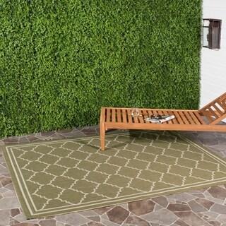 Machine-made Safavieh Indoor/ Outdoor Courtyard Green/ Beige Rug (9' x 12')
