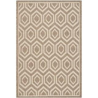 Safavieh Indoor/ Outdoor Courtyard Rectangular Brown/ Bone Rug (5'3 x 7'7)