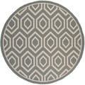 Safavieh Indoor/ Outdoor Courtyard Anthracite/ Beige Area Rug (7'10 Round)