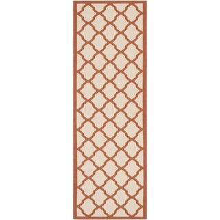 Safavieh Indoor/ Outdoor Courtyard Beige/ Terracotta Rug (2'3 x 6'7)
