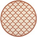 Safavieh Indoor/ Outdoor Courtyard Beige/ Terracotta Rug (7'10 Round)