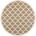 Safavieh Indoor/ Outdoor Courtyard Geometric Pattern Brown/ Bone Rug (7'10'' Round)