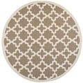 Safavieh Indoor/ Outdoor Courtyard Border Brown/ Bone Rug (7'10'' Round)