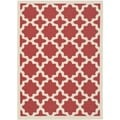 Safavieh Indoor/ Outdoor Courtyard Geometric-pattern Red/ Bone Rug (4' x 5'7)