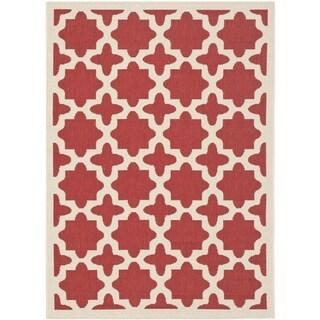 Safavieh Indoor/ Outdoor Courtyard Geometric-pattern Red/ Bone Rug (4' x 5'7)