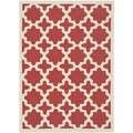 Safavieh Indoor/ Outdoor Courtyard Geometric-pattern Red/ Bone Rug (5'3'' x 7'7'')
