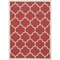 Safavieh Indoor/ Outdoor Courtyard Trellis-pattern Red/ Bone Rug (4' x 5'7)