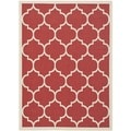 Safavieh Indoor/ Outdoor Courtyard Trellis-pattern Red/ Bone Rug (5'3'' x 7'7'')