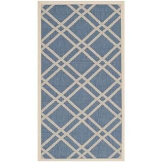 Safavieh Indoor/ Outdoor Courtyard Blue/ Beige Rug (2'7 x 5')
