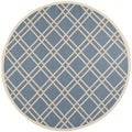 Safavieh Indoor/Outdoor Courtyard Blue/Beige Patterned Rug (7'10 Round)